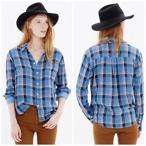Madewell Blue Plaid Cozy Flannel Button Up Top